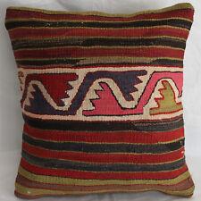 Turkish Kilim Rug Throw Pillow Cover Cushion Cover 16''x16'&# 039; Nomad Vintage Kelim