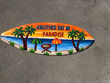 Another Day In Paradise Hand Carved Wood Sign Wall Art Tropical