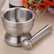 2-Double Stainless Steel Mortar and Pestle Garlic Press Pot Herb Mills Mincers G