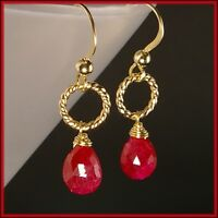 New Genuine Ruby with 14K Yellow Gold Filled Twisted Circle Dangle Drop Earrings