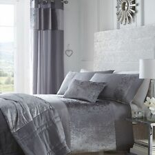 Boulevard Dove Grey Quilted Bedspread Throw Over 200cm x 230cm Crushed Velvet