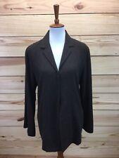 J Jill Jacket Size 12 Brown Snap Front Long Sleeve Lapels Wool Blend Stretch B76