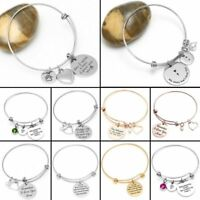 Remember I love you Mom Family Friendship Stainless Steel Bangle Cuff Bracelet