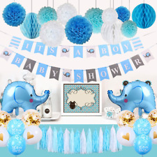 Tematica Para Baby Shower Varon.Blue Baby Shower Party Pom Pom Party Decorations For Sale Ebay
