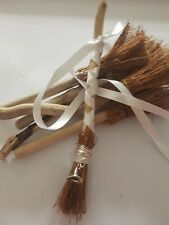 Mini Driftwood Besom/broomstick scented with Blue Lotus oil with 3d Witches hat
