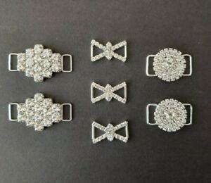 4cm 3cm 2cm Small Bikini Connectors 3 Designs (Silver Rhinestone Bridal Craft)
