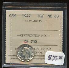 1947 Canada Ten Cent - ICCS MS-63 Cert#RR730
