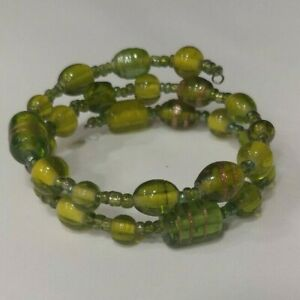 Memory Wire Bracelet Green Glass Beads some with Gold Trim Handmade Bangle NEW