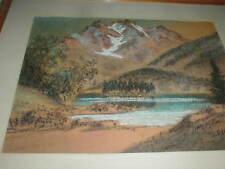 1950's Albert A. Richter CHARCOAL Pastel FINE ART Painting GERMAN Alps Landscape