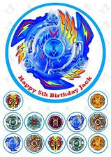 Beyblade Burst Edible Round Cake topper PERSONALISED  +12 cupcake Toppers V1