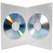 100 x Custodia di DVD DOUBLE Slimline CHIARA 7mm COLONNA vertebrale con chiari Manica Coperchio Anteriore