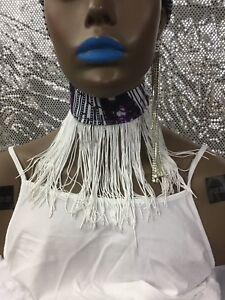 African Ankara Kente Wax Print White Fringe Tassel Trim Choker Necklace One Size