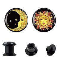 PAIR Acrylic Ear Gauges Flared Ear Plugs Ear Flesh Tunnels Sun&Moon Piercing