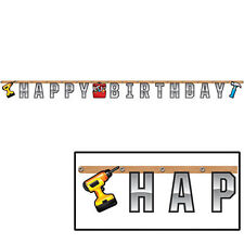Handyman Builder Tools Party Supplies Decorations Happy Birthday Jointed Banner