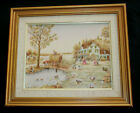 Vintage C Carson Oil Painting Framed Amish Country Farm Hayride Fishing Pond -CL