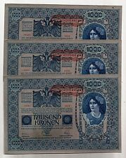 3 consec 1902 AUSTRO-Hungarian Austria inflation bank notes 1000 Kronen UNC