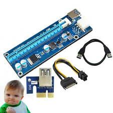 USB 3.0 PCI-E Express 1x - 16x Extender Riser Card Adapter SATA 6Pin Power Cable