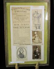 Union Square Theatre  Joe Jefferson Lead Actor  1882 Performance Announcement