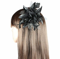 FASCINATOR FLOWER NET FEATHER ON CLEAR COMB WEDDINGS RACES PROM HAIR FASCINATOR