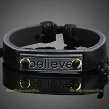 Motivation Metal Plate Girl Boy Braid Bracelet String Band Bangle