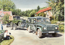 Landrover Defender and Land Rover Series one on car trailer motoring art card