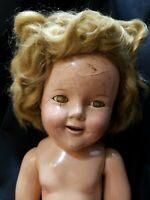 """Vintage Composition 1930's Ideal My Friend Shirley Temple doll 18"""" For Repair"""