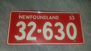 Vintage NEWFOUNDLAND 1953/54 Wheaties Cereal Mini Bike State Metal License Plate