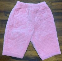 Baby Gap Newborn 0-3 Months Quilted Fleece Lined Warm Pink Pants
