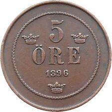 Sweden 5 Ore 1896 Oscar II KM#757 (5160) mintage: 308,647