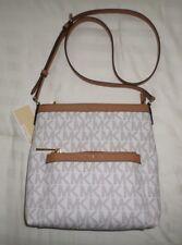 NWT Michael Kors MORGAN Med Messenger Crossbody Bag VANILLA MK Sig Logo PVC