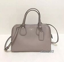 New COACH 59180E Pebbled Nolita Leather Satchel Handbag Crossbody Bag Grey Birch