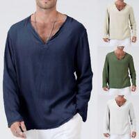 Mens Long Sleeve T-Shirt Cotton Linen Thai Shirt V-Neck Casual Thai Tops Blouse