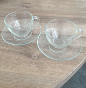 2 x Vintage 1960/1970 Era Arcoroc France glass tea/coffee cups & saucer set