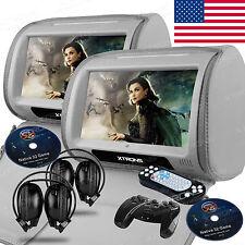 "2x 9"" Grey Car Touchscreen USB SD Port Headrest Monitors DVD Games IR Headphones"