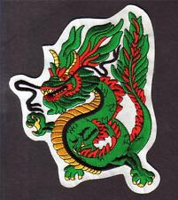 "MEDIEVAL Chinese Oriental Green DRAGON 4"" x 6"" Iron On Sew On LARGE PATCH New"