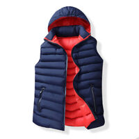 Men Outdoor Puffer Vest Body Warmer Quilted Jacket Removable Hooded Padded Gilet