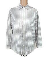 Banana Republic Plaid White Purple Button Up Men Shirt  Size L Long Sleeve