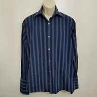 Banana Republic Mens Button Up Shirt Large Blue White Striped Long Sleeve Cuff