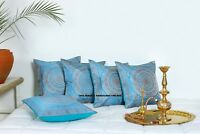 "Indian Brocade Silk Pillow Case Cover Mandala Turquoise Cushion Cover 16"" Throw"