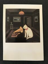 Her Mistress's Voice Martin Leman Reprint Postcard White Cat 1979