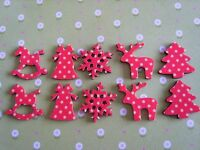 10 x Mixed Wooden Red Christmas Shapes Embellishment Card Toppers Crafts UK