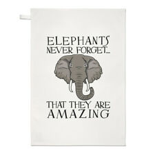 Elephants Never Forget That They Are Amazing Tea Towel Dish Cloth - Funny