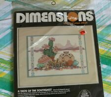 "New Southwestern Cross Stitch Kit Cactus Desert Pottery 14"" x 10""  Dimension -Y="