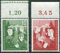 Bund Nr. 153 - 154 OR postfrisch LUXUS 153 mit FKS u.Oberrand dgz ungefaltet MNH