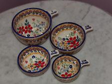 Polish Pottery UNIKAT Measuring Cup Set 1/4 - 1 Cup!  Rembrandt Pattern!