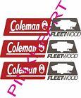 3- coleman fleetwood rv camper logo pop up decal sticker popup decals