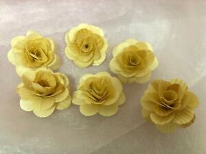 """6X Wooden Natural Shabby Rose Flowers Wedding Decor 1.5"""". Rustic Party Decor"""