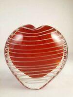 White Threaded Red Heart Hand Blown Art Glass Bud Vase / Paperweight