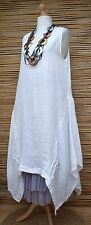 """LAGENLOOK BEAUTIFUL QUIRKY LINEN A-LINE LONG DRESS***WHITE***BUST UP TO 44"""""""