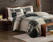 NAVY BLUE & TAN PLAIDS Full / Queen QUILT SET : BLACK BROWN LODGE CABIN COVERLET
